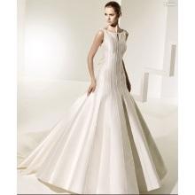 Váy ren cổ áo rộng đào tạo nhà hàng satin bowknot v-trở lại đầm cưới