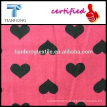 diseño de nueva primavera 2016 para ELAND 100 algodón Sarga impresión de forma de corazón tejido tela de franela de lana sensación