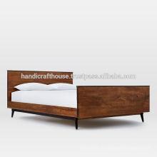Industrielle Walnussfarbe Massivholz mit Metallrahmen Doppelbett