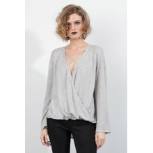 Bell Sleeve Criss Cross Deep V-hals Sweater