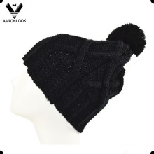 Women′s Acrylic Knit Cold Hat with Top Ball