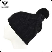 Женский акриловый трикотажа холодную шляпу с верхним мяч