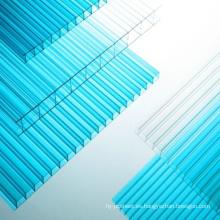Hoja de policarbonato hoja de múltiples muros hoja de techo tragaluz 50 micras UV, 10 años de garantía