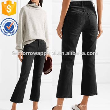 Cropped Hochhaus Flared Jeans Herstellung Großhandel Mode Frauen Bekleidung (TA3070P)