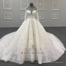 O Hals Kristall Perlen Ballkleid Elfenbein Spitze einfaches Hochzeitskleid mit langen Ärmeln