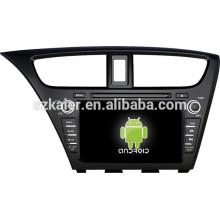 Android 4.4 Miroir-lien Glonass / GPS 1080P voiture multimédia central pour Honda 2014 Civic (hayon) avec GPS / Bluetooth / TV / 3G