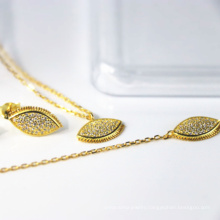 s925 sterling silver jewelry set, charm eye, gold-plated necklace, bracelet and earrings