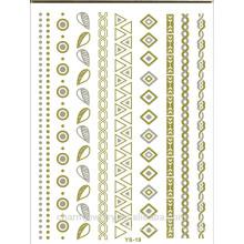 Wasserdichtes Gitterkegel-Herzarmband DIY Halsketten-Tätowierung-metallisches Tätowierunggold-temporäre Tätowierungaufkleber Großhandels-YS019