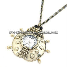 Classical Antique Style Ladies Metal Beatles Design Necklace Pocket Watch 110401126