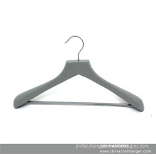 Branded Grey Wooden Clothes Hanger for Suit with Pants Bar
