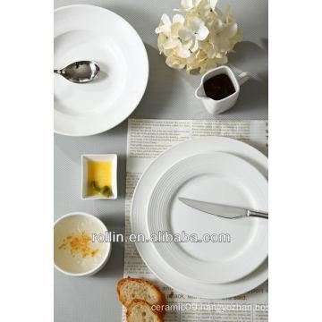 Wedding used lines decoration white fine porcelain dinnerware, dinner plate