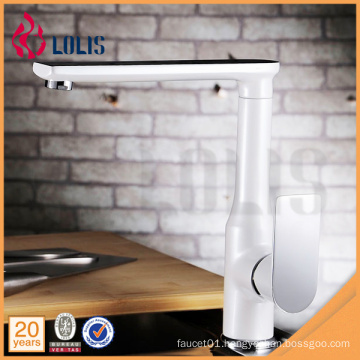 360 degree rotate white painting flexible single lever water ridge kitchen sink faucet