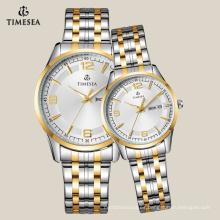 Reloj casual para pareja con banda de acero inoxidable de 2 tonos 70022