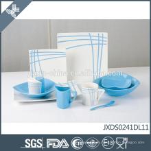 Синие линии деколь дизайн фарфора экологически чистые настроить красочные посуда наборы