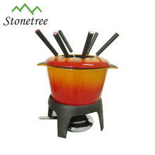 Buntes Emaille-Gusseisen-Fondue-Set
