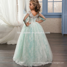 2017 New Fashion High Quality Custom Made Floor Length Lace Appliques Three Quarter Sleeves Ball Gown Flower Girl Dress