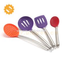 Высококачественный цветной силиконовый набор посуды с ручкой из нержавеющей стали