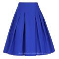 Grace Karin Mujer Alta Estirada Vintage Azul Retro A-Line Falda Corto CL010451-3