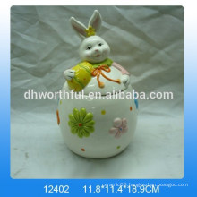 Lovely ceramic storage tank with easter rabbit design