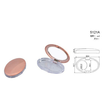 Flat Oval Compact Powder Container With Mirror