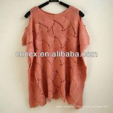 12STC0608 mangas curtas crotched pullover moda malha