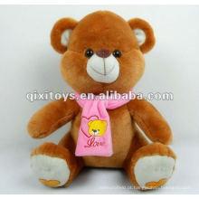 Peluche 100% bonito do urso de peluche dos desenhos animados do algodão com lenço