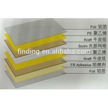 Verstärkte Aluminium Folie Scrim Kraft (8 Schichten) / Aluminium Folie Kraft Papier Laminat