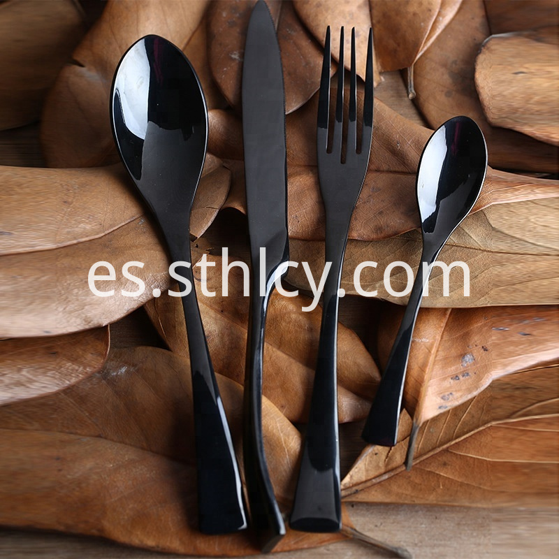 Black Knife Spoon Fork