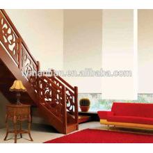 Pasamanos de roble rojo Escaleras de arco de lujo de madera maciza de doble cara
