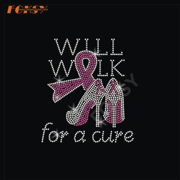 High Heel Pink Ribbon Heat Rhinestone Transfer