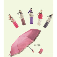 Automatic Open and Close Lace Edge DOT Printing 3 Fold Umbrella (JY-234)