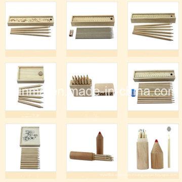 Crayon en bois naturel en bois en emballage en bois
