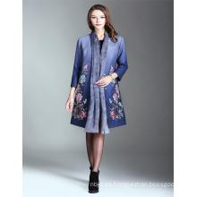 Otoño de lujo Alibaba Impreso 2017 Mujer Trench Coat Azul