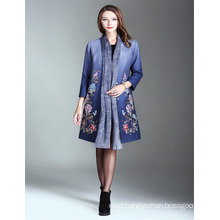 Autumn Luxury Alibaba Printed 2017 Woman Trench Coat Blue