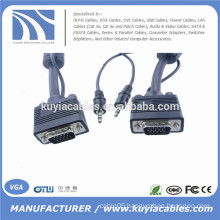 15PIN VGA/SVGA/RGB Male to Male with Stereo 3.5mm Audio Cord For PC TV
