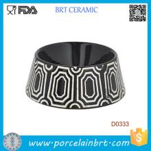 Bacia cerâmica do alimento de cão do teste padrão decorativo preto redondo da forma