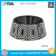 Schwarze runde Form-dekoratives Muster-keramische Hundenahrungsmittelschüssel