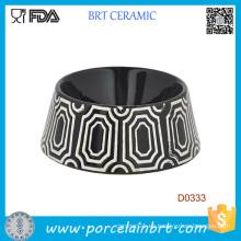 Cuenco de cerámica de la comida de perro del patrón decorativo redondo de la forma redonda