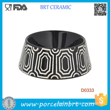 Black Round Shape Decorative Pattern Ceramic Dog Food Bowl