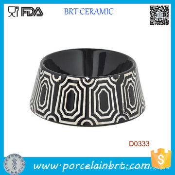 Черный Круглой Формы Декоративный Узор Керамические Собака Чаша