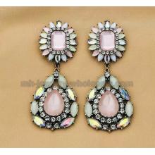 Mode Zinc Alloy deux Section résine acrylique perles Boucles d'oreilles femmes