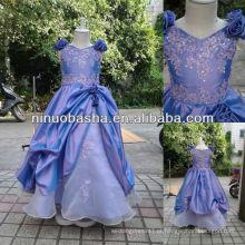 NW-417 Appliques com Beadings Top Taffeta Flower Girl Dress