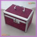Fuchsia Printing Surface Small Aluminum Makeup Vanity Box (SACMC146)