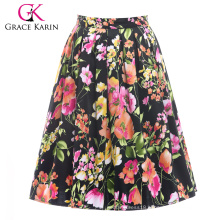 19 Colors ! Grace Karin Cheap Occident Short Retro Vintage 50s Floral Print Cotton Skirt CL6294-11#