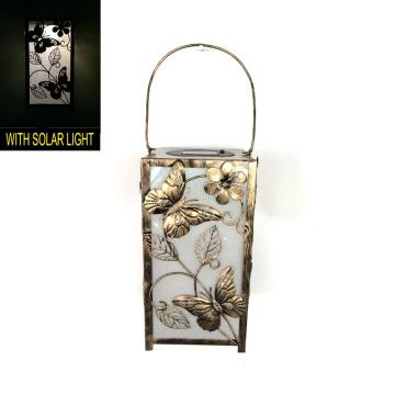 Solar beleuchtete Garten Dekoration Metall Quadrat Schmetterling Laterne Handwerk