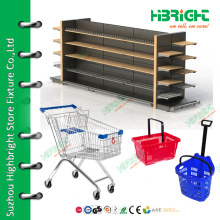 supermarket shelves racks shopping trolleys basket supermarket equipment