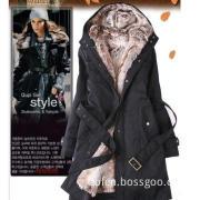 Hot Wholesale Faux Fur Lining Women Medium Long Fur Coat Winter Jacket