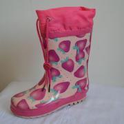 Rosa Rainboots del niño con la parte superior de Nylon