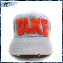 frayed effect baseball cap with 3d embroidery for children
