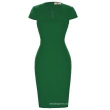 Grace Karin Damas de color verde oscuro caderas envuelto tapa manga retro vintage lápiz bodycon vestido CL008947-5